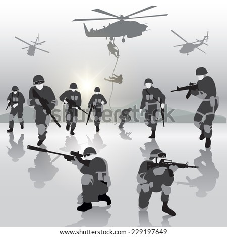 Squad of soldiers during the military operation. Vector illustration - stock vector
