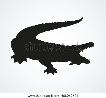 Squamate nile old rough scaly Crocodylia isolated on white background. Black ink hand drawn picture sketchy in art retro style pen on paper. Closeup view with space for text