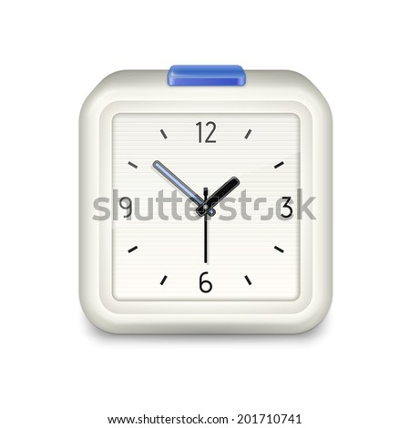 Square alarm clock with blue button on white background. Vector illustration - stock vector