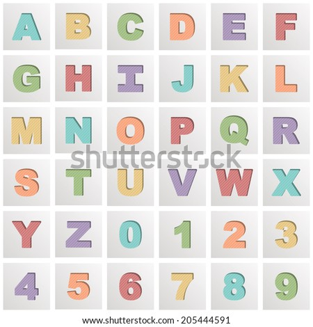 square alphabet icons isolated on white with transparencies