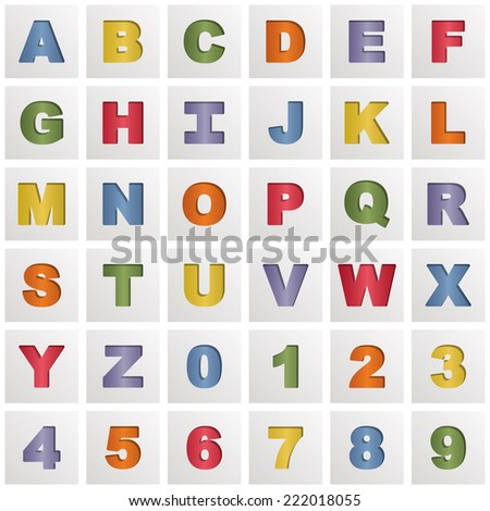 square alphabet icons with blue yellow green orange purple and red gradients, isolated on white with transparencies