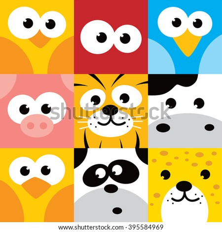 square animal face icon button set vector illustration - stock vector