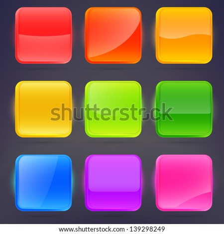 Square application buttons or colorful app banners with rounded corners and different gloss reflection effect over, eps10 vector - stock vector