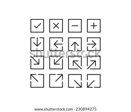 Square Arrow Icon Symbol Set