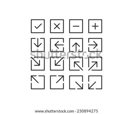 Square Arrow Icon Symbol Set - stock vector