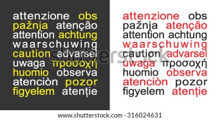 Square attention sign in different languages - stock vector