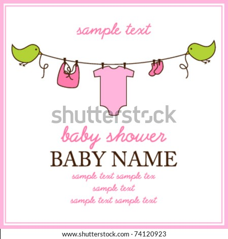 Square Baby Shower Invitation or Birth Announcement - stock vector