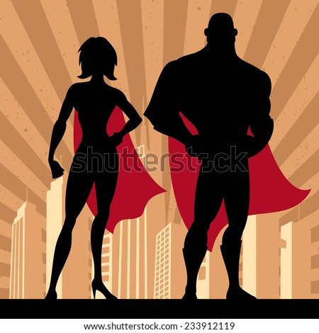 Square banner of male and female superheroes. No transparency and gradients used.  - stock vector