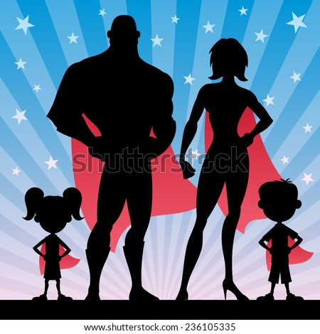 Square banner of superhero family. No transparency used. Basic (linear) gradients.  - stock vector