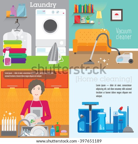 Square banners on the home work. Cleaning, washing dishes, washing. Four different banner overlooking the kitchen, Laundry room, living room and cleaning. - stock vector