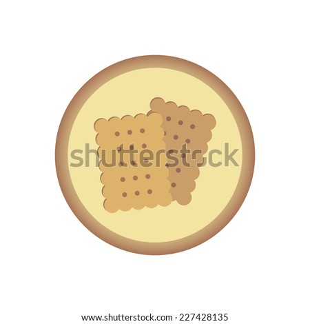square biscuits round flat icon - stock vector