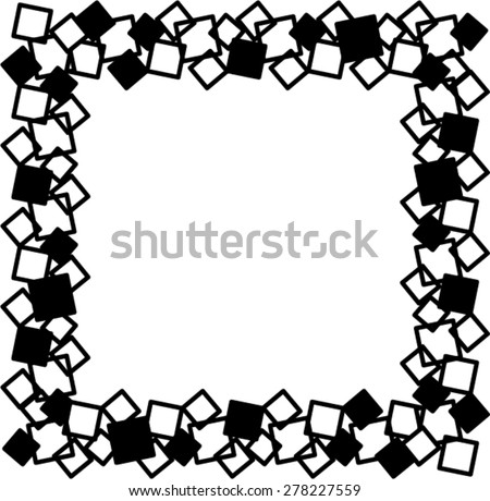 Square black-white frame. - stock vector