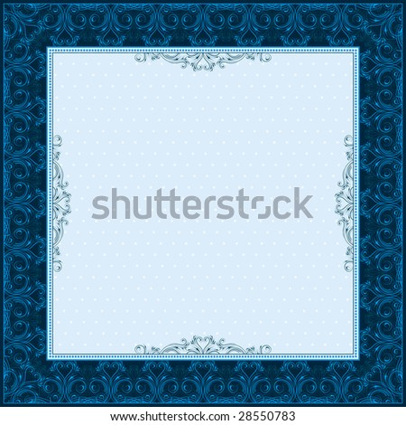 square blue background with decorative ornate, vector illustration