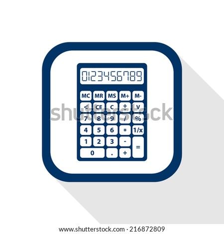 square blue icon calculator with long shadow - set of digital numbers - symbol of count, calculation, account and math - stock vector