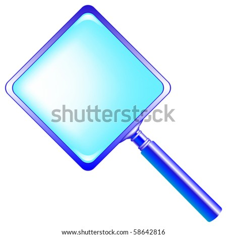 square blue magnifying glass against white background, abstract vector art illustration - stock vector
