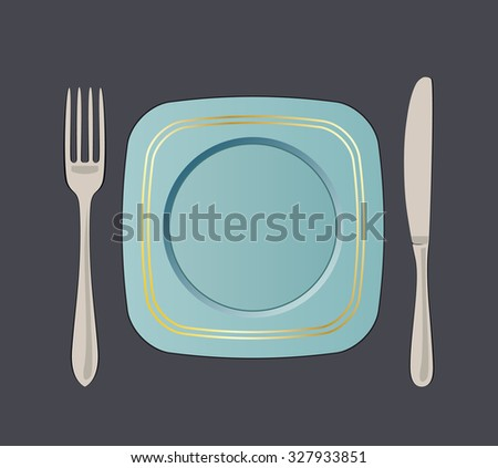 Square blue plate with gold border, knife and fork vector illustration.