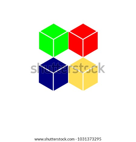 Square box red green yellow blue