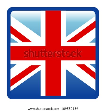Square British Flags Vector Isolate on White Background - stock vector