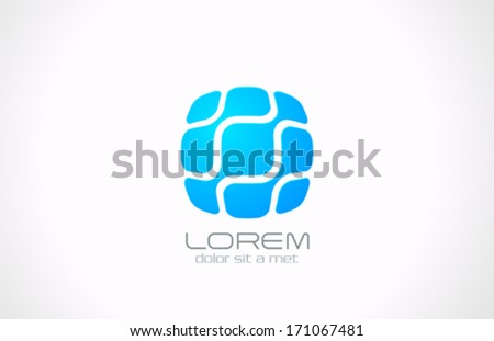 Square Business technology abstract vector logo design template. DNA, Molecular, Electronics, Hi-tech, Futuristic symbol icon. - stock vector