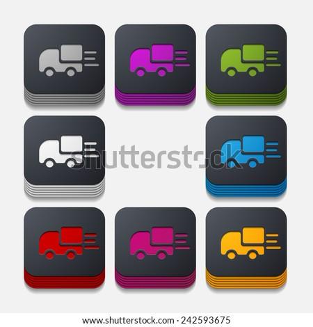 square button: car - stock vector