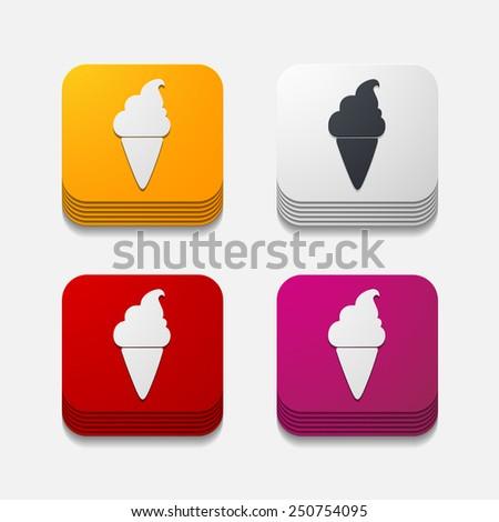 square button: ice - stock vector