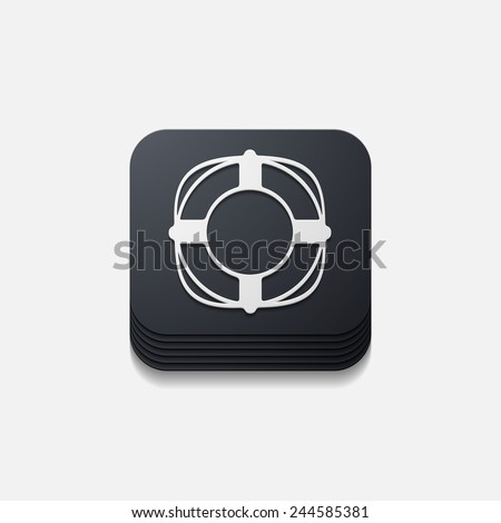 square button: lifebuoy - stock vector