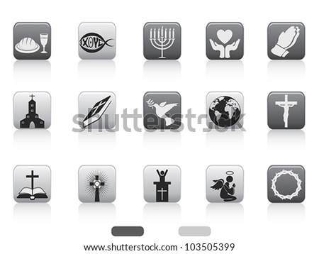 square button of christian icon - stock vector