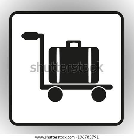 square button on a gray background Luggage trolley vector icon Vector illustration
