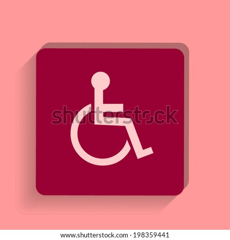 square button on a pink background. Vector illustration Disabled icon. Human on wheelchair symbol. Handicapped invalid sign. - stock vector
