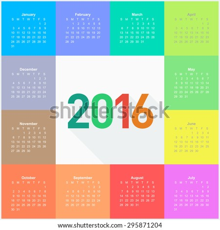 square calendar for 2016 year colorful vector