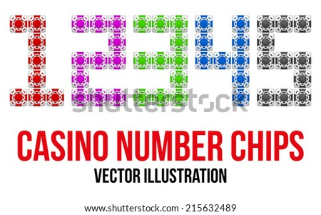 Square casino chip icons in the form of numbers. Bright symbols of gambling. Editable Vector Illustration isolated on white background.