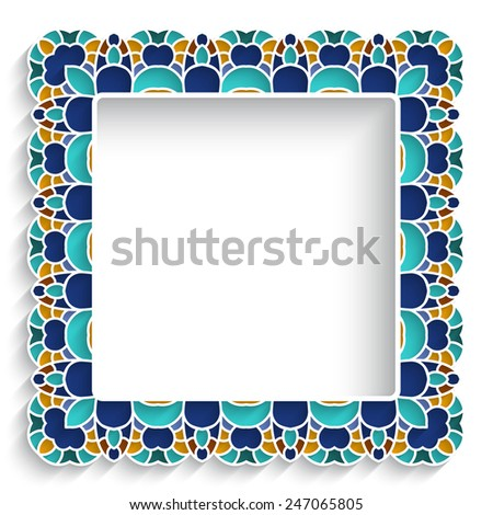Square ceramic vector frame with mosaic ornament on white - stock vector
