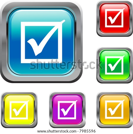 Square Check Mark Button - stock vector