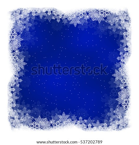 Square Christmas background dark blue color with openwork snowflakes border and place for text. Vector illustration.