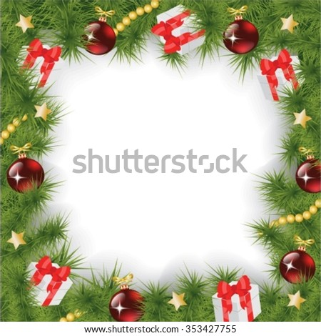 Square Christmas background with fir branches, decorations and gifts - stock vector