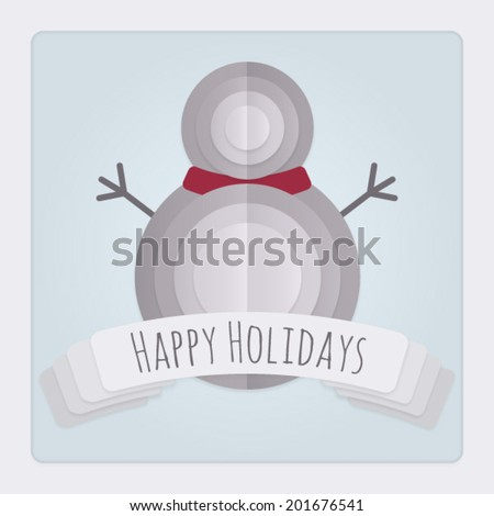 Square Christmas card with a 3d layered folded paper Snowman design and banner with a Happy Holidays Message. This Vector is EPS10 and uses transparencies, clipping masks, gradient mesh and blends.  - stock vector