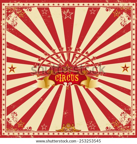 Square circus red card. A wonderful circus card with red sunbeams for your entertainment - stock vector
