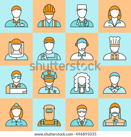 Square colored professions avatars line icon set with different types of workers and employers vector illustration