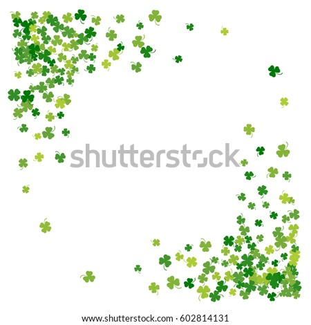 Square Corner Green Frame Or Border Of Scatter Transparent Clover Leaves With Tail Elegant St