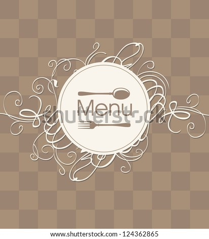square cover for a menu with a flourish - stock vector