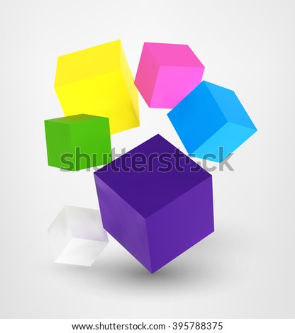 square cube 3d realistic digital vector illustration set on grey background web design, sight page, poster, banner, print, t-shirt, case, commercial, advertisement element - stock vector