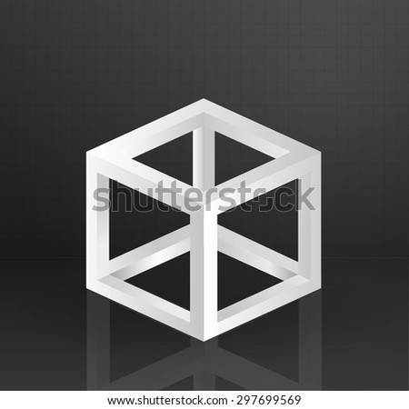 Square cube geometry design object illustration abstract - stock vector