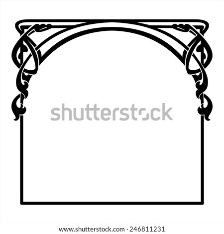 square decorative frame in the art Nouveau style - stock vector