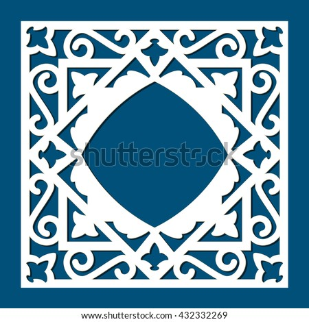 Square die cut card template. Vector ornamental cutout panel for laser cutting. Filigree cutout frame. Wood carving for photo frame. Stencil or kirigami frame. Laser cutting vector design.   - stock vector