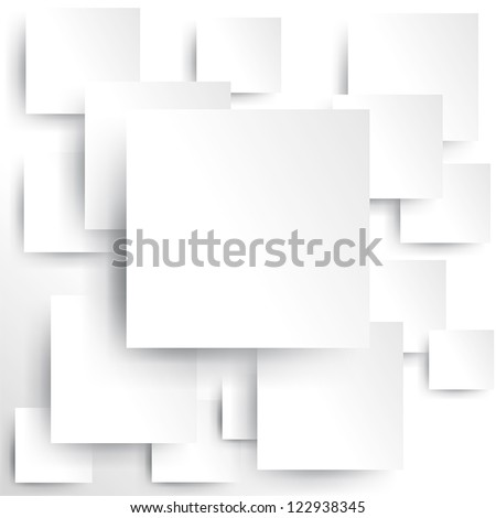 Square element on white paper with shadow, create by vector - stock vector