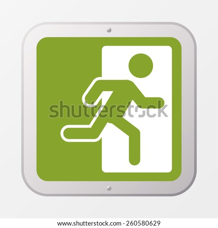 Square emergency exit symbol. Vector design. - stock vector