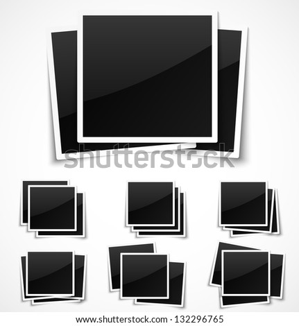 Square empty photo frames on white background. Vector illustration - stock vector