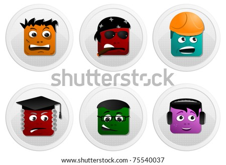 Square faces icon set of of dj, biker, worker, judge, scientist and homeless on white background. - stock vector
