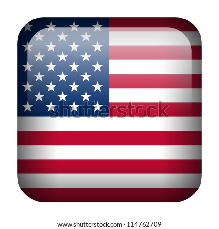 Square flag button series of all sovereign countries - United States - stock vector