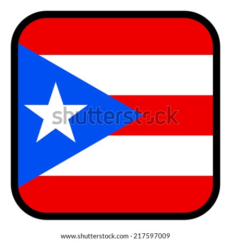 Square flag button series - Puerto Rico - stock vector